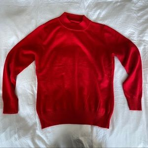Sweaters - Red Mock Neck Pullover Sweater